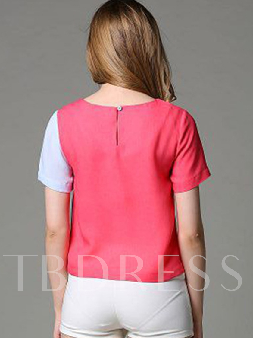 Color Block Fashion Short Sleeve Women's T-Shirt
