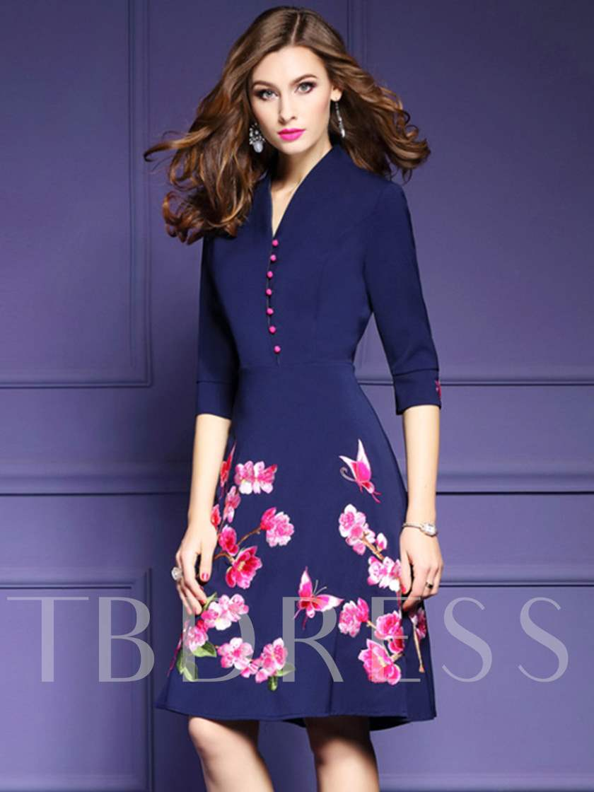 Pullover Floral V-Neck Single Breasted A-Line Women's Day Dress
