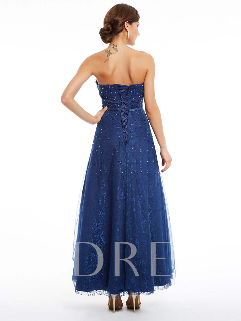 Strapless Lace-Up Beaded Lace A Line Evening Dress