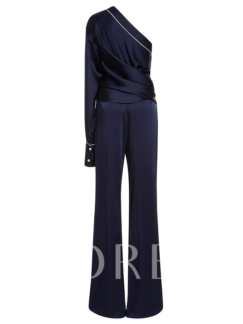 Oblique Collar Dark Blue Women's Two Piece Set