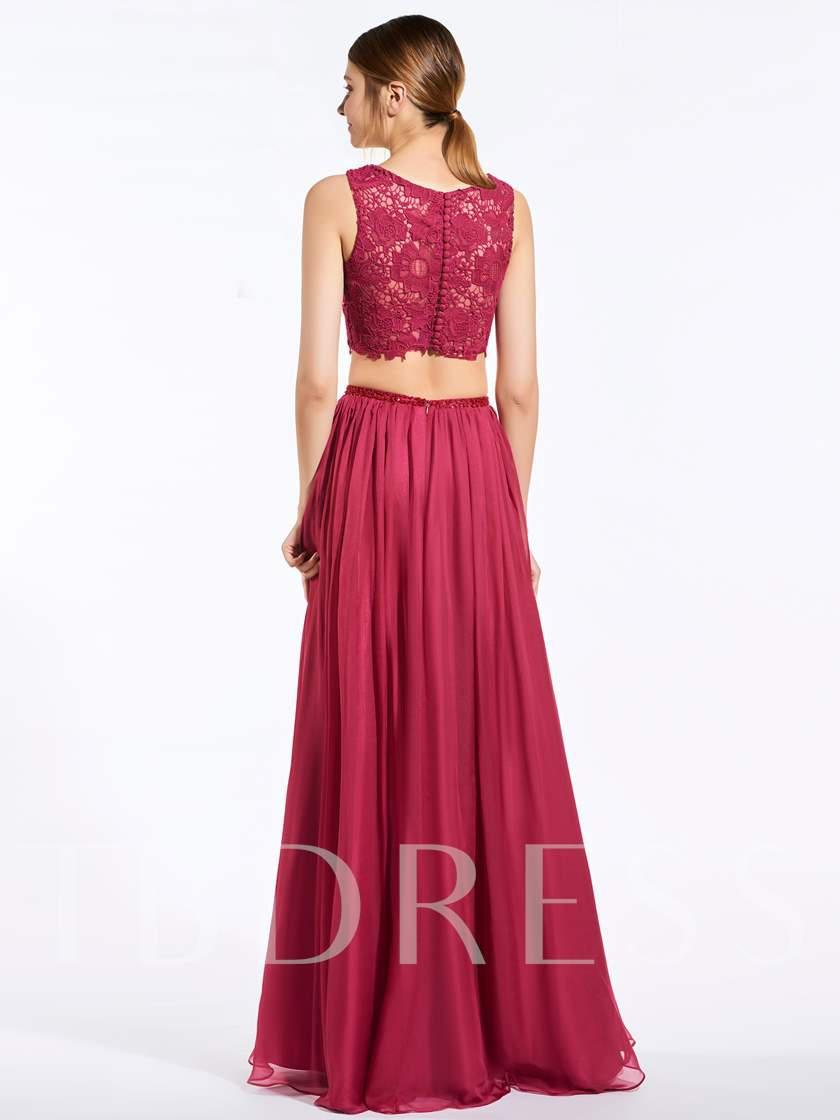 Button Two Pieces Lace Bridesmaid Dress