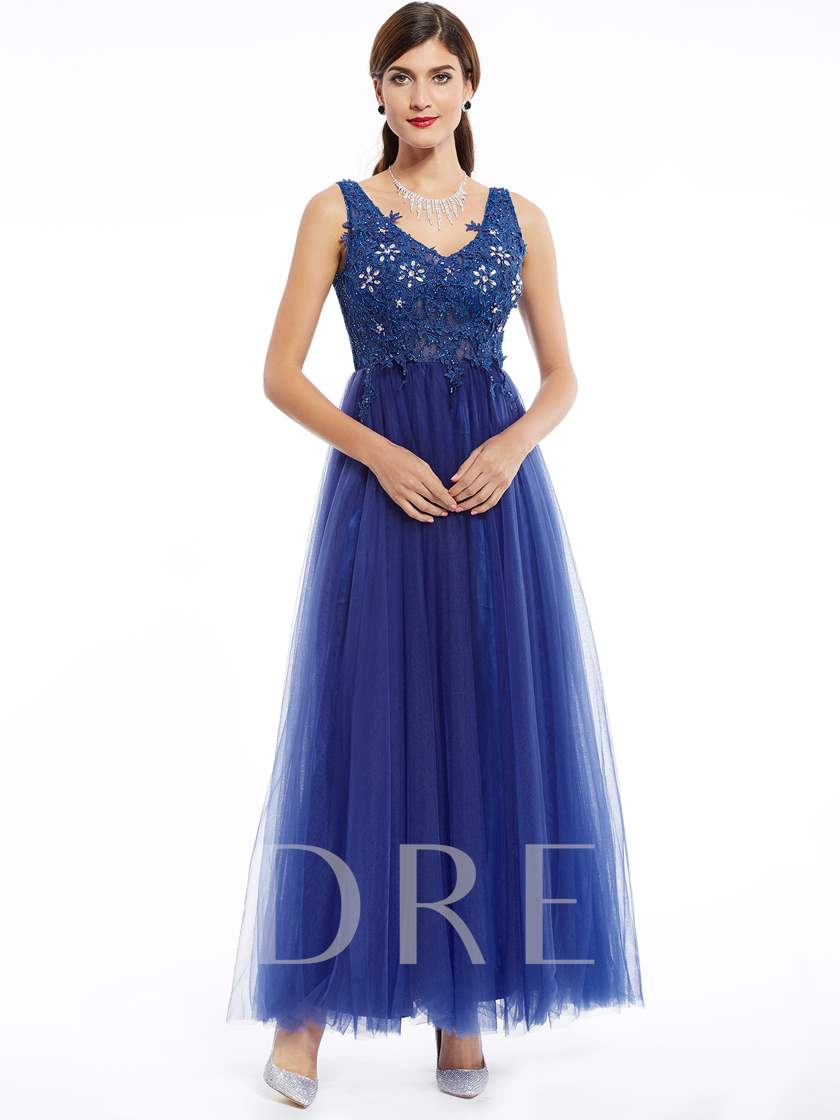 V Neck Beaded Appliques A Line Evening Dress
