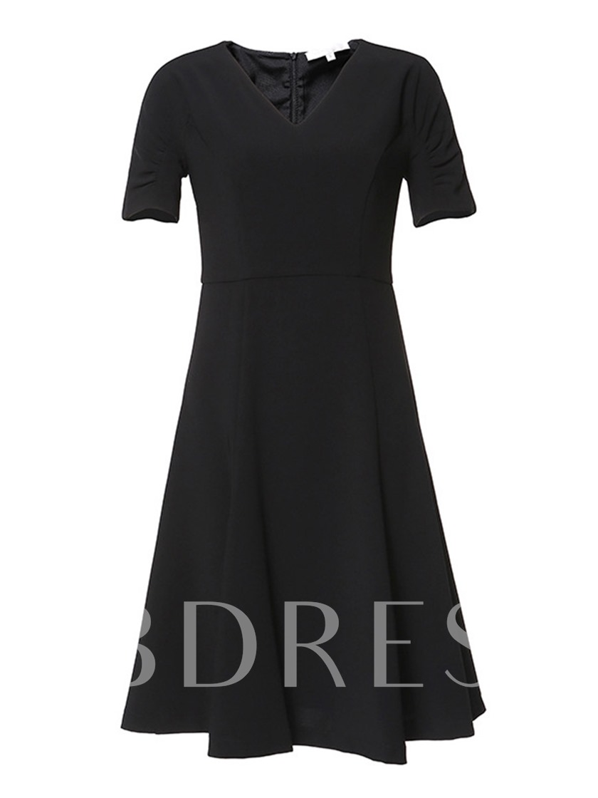 Vintage Plain V-Neck A-Line Short Sleeve Women's Day Dress