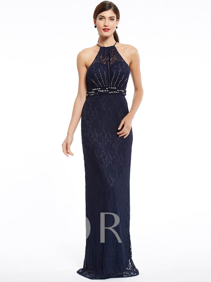 Halter Neck Zipper-Up Beaded Lace Sheath Evening Dress