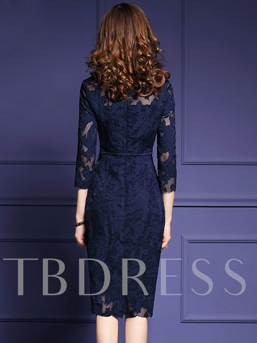 Half Sleeve Solid Color Lace Women's Sheath Dress
