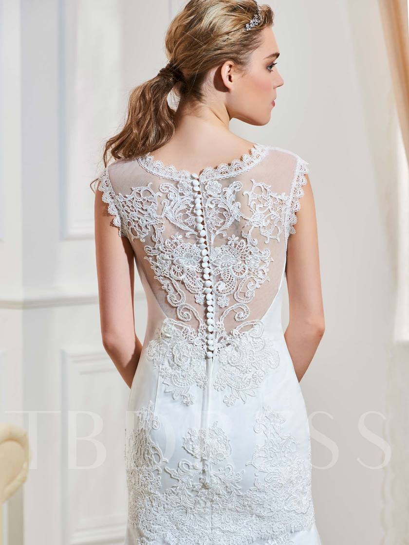 Sweetheart Lace Appliques Button Mermaid Wedding Dress