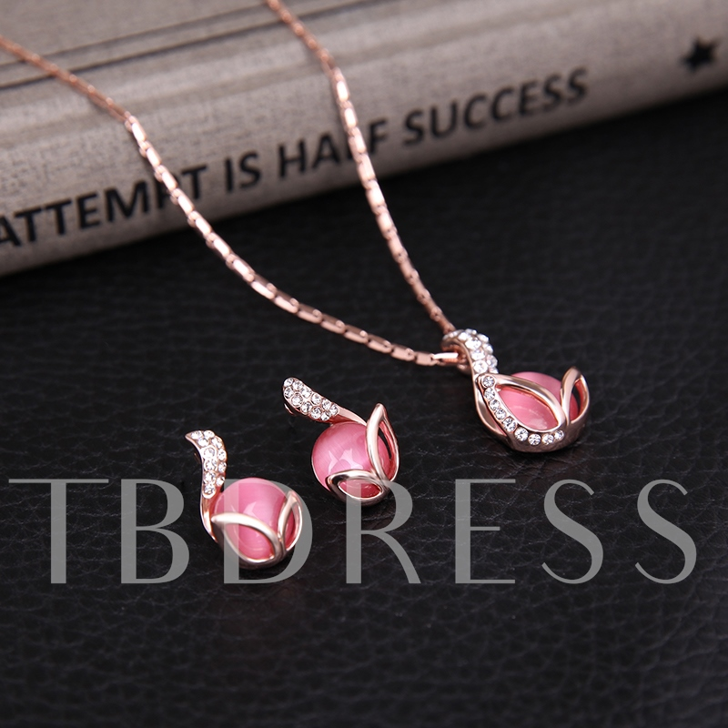Rose Opal Design Alloy E-Plating Jewelry Set