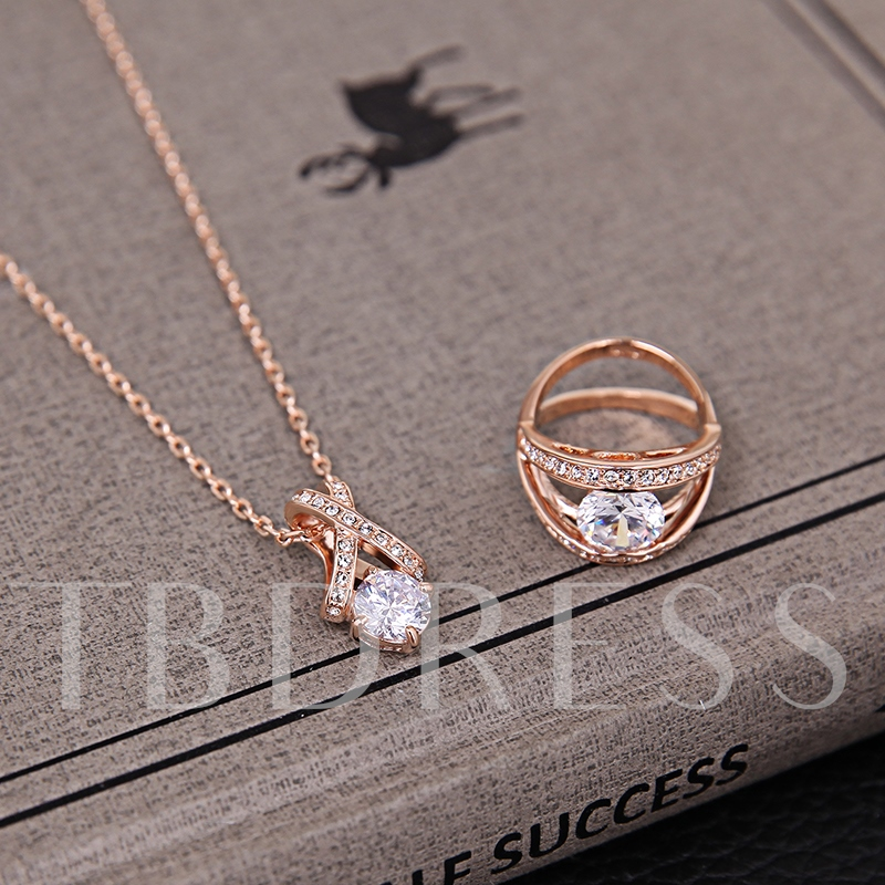 Vogue Zircon Inlaid Pendant Three-Pieces Alloy Jewelry Set