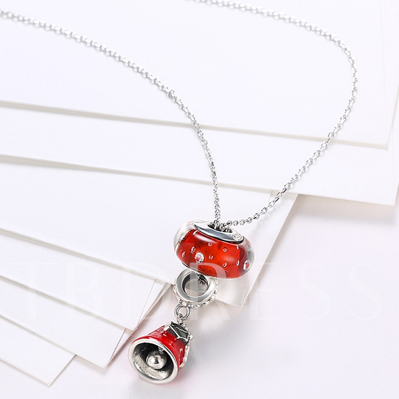 Red Bell Diamante Long 925 Silver Necklace
