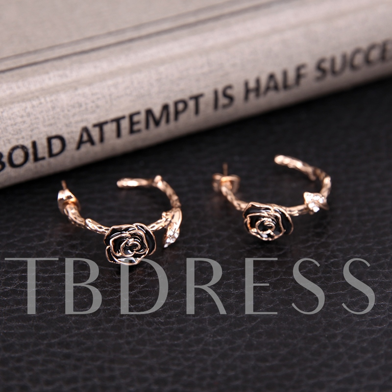 Rose with Branch Design Gold Two-Pieces Jewelry Set