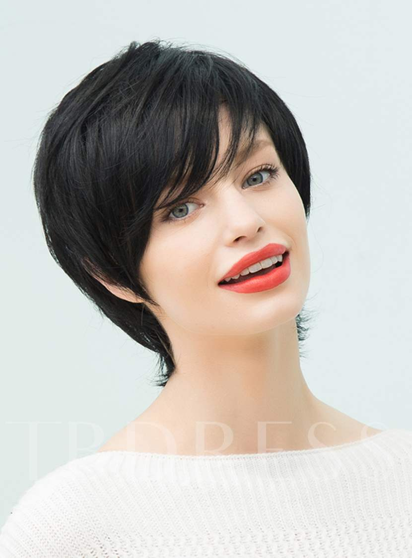 Natural Black Layered Short Straight Human Hair With Bangs Capless Cap Wigs 10 Inches