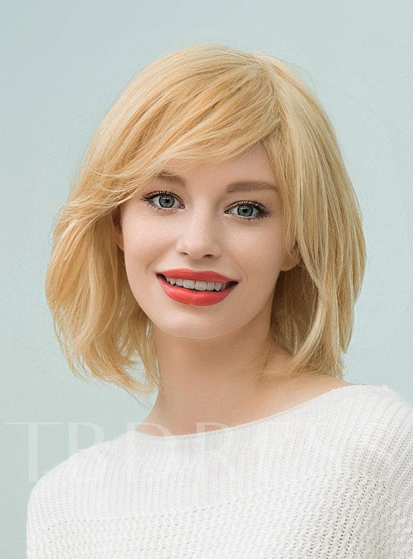 Medium Straight Human Hair With Blonde Bangs Bob Capless Wigs 14 Inches