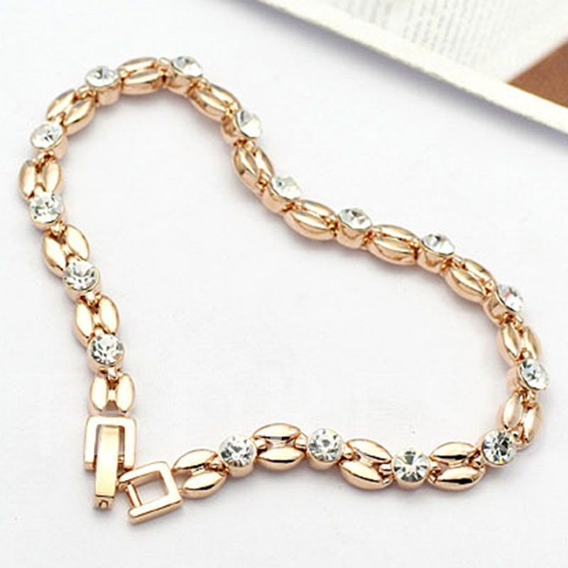 Simple Golden Diamante Chain Bracelet