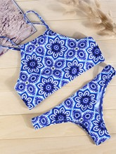 Exquisite Flower Print Bikini Set