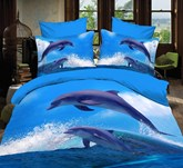 Dolphins Jumping out of Blue Water Print Polyester 3D Bedding Sets/Duvet Covers