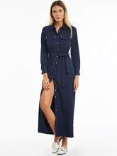 Navy Lapel Single-Breasted Women's Maxi Dress