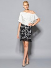 Sheath Off-the-Shoulder Half Sleeves Lace Ruffles Knee-Length Cocktail Dress