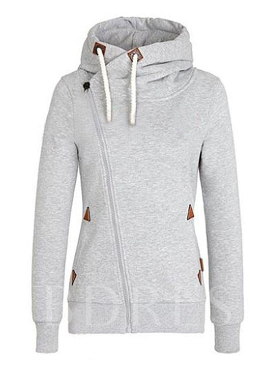 Image of Casual Light Gray Hooded Womens Hoodie