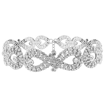 Eight-Shaped Diamante Hollow Choker Necklace