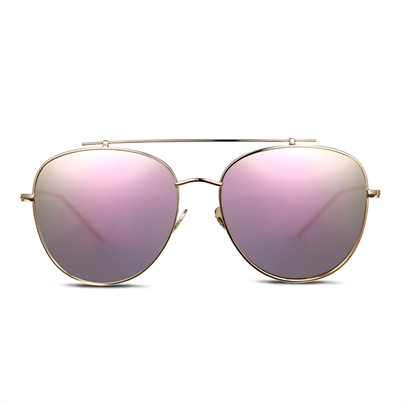 Pink Ellipse Lens Polarized Aviator Sunglasses for Women