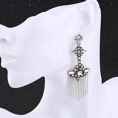 Alloy Diamante Classic Women's Tassels Earrings