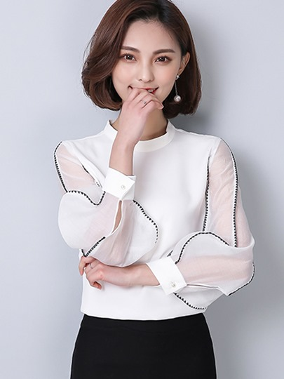 Mesh Patchwork Long Sleeve Chiffon Women's Blouse