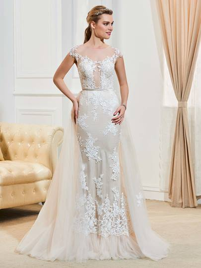 Cap Sleeves Appliques Button Scoop Neck Wedding Dress