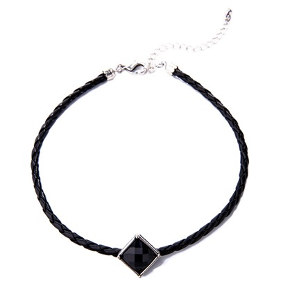 Geometric Artificial Gemstone Pendant Woven Necklace