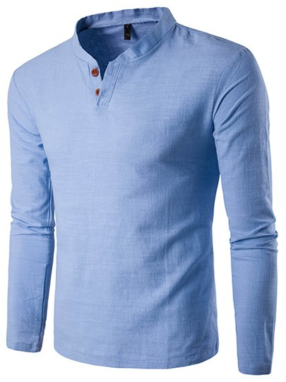 Stand Collar Casual Long Sleeve Men's T-Shirt
