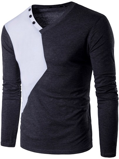 V-Neck Patchwork Men's Long Sleeve Causal T-Shirt