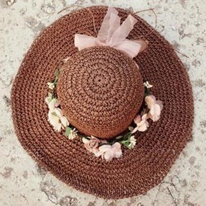 Flowers Decorated Dome Crown Beach Sun Straw Hat