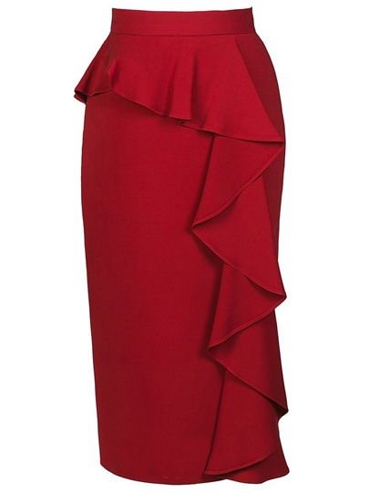 Solid Color Falbala Women's Skirt