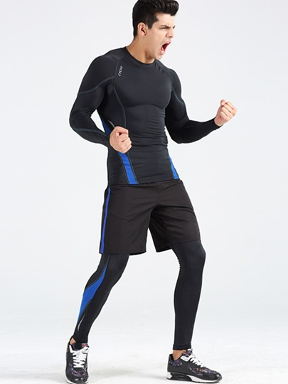 Three-Piece Springy Men's Sports Clothing