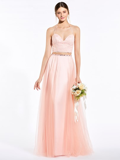 Two-Layer Halter Lace A-Line Bridesmaid Dress