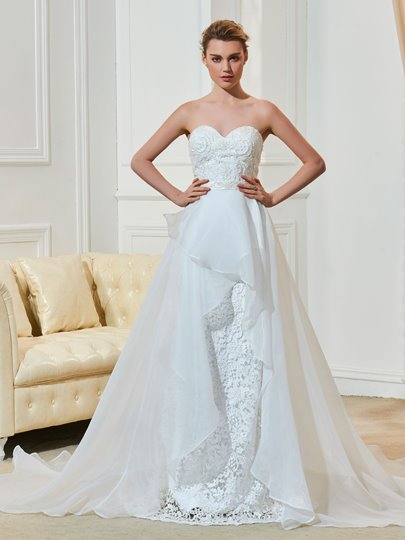 Beading Sash Sweetheart A-Line Court Train Bridal Gown