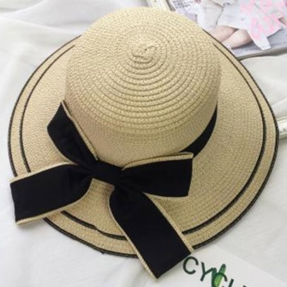Large Bowknot Embellished Wide Brim Sun Hat