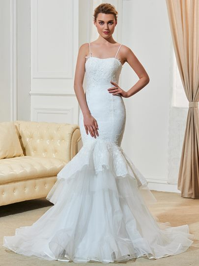 Spaghetti Straps Mermaid Lace Tiered Wedding Dress