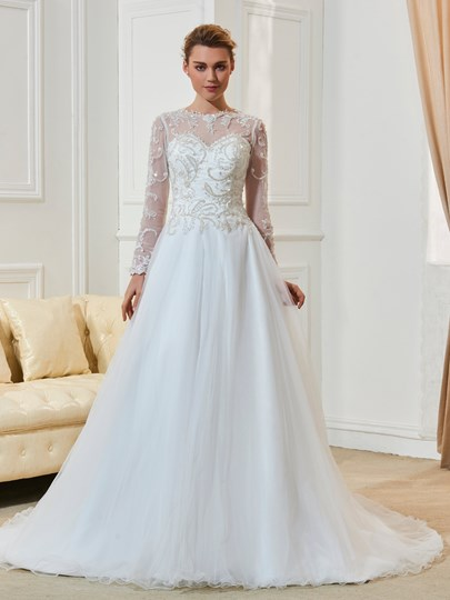 Beaded Appliques A-Line Wedding Dress