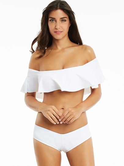 Plain Off The Shoulder Falbala Tankini Set