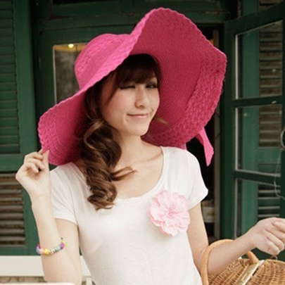 Women's Fashion Bowknot Large Brimmed Beach Sun Hat