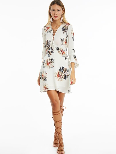 Bell Sleeve Lace-Up Floral Women's Bodycon Dress
