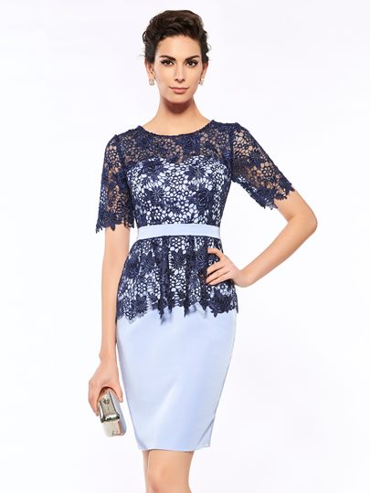 Short Sleeve Lace Sheath Mother Of The Bride Dress