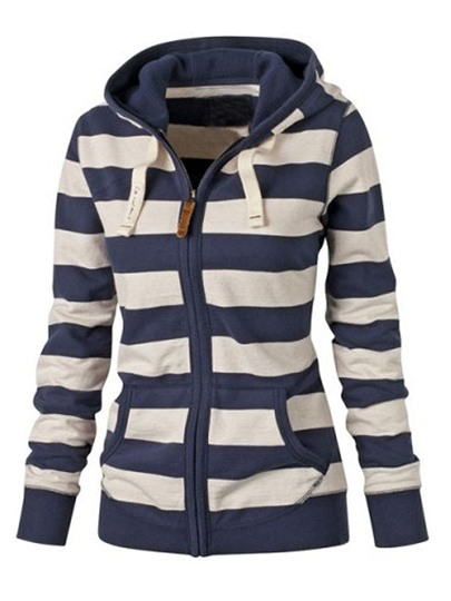 Stripe Hooded Long Sleeve Women's Hoodie