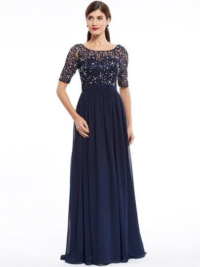 Scoop Neck Half Sleeves Beaded A Line Evening Dress