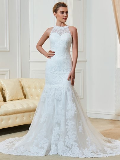 Jewel Neck Lace Beading Liques Mermaid Wedding Dress