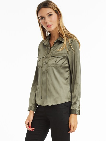 Slim Lapel Two Pockets Lace-Up Women's Shirt