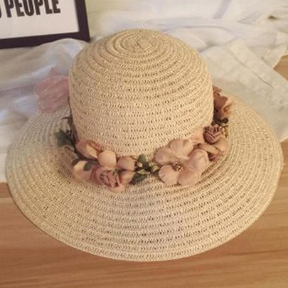 Garland Embellished Wide Brim Beach Straw Hat