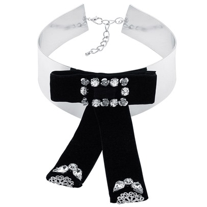 Black Diamante Bowknot Embellished Alloy Collar Necklace