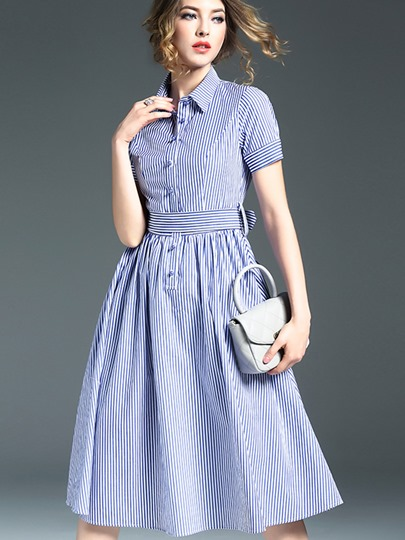 Stripe Single-Breasted Button Bowknot Women's Day Dress