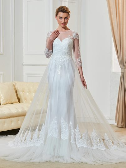 Button Appliques Button 3/4 Length Tulle Wedding Dress